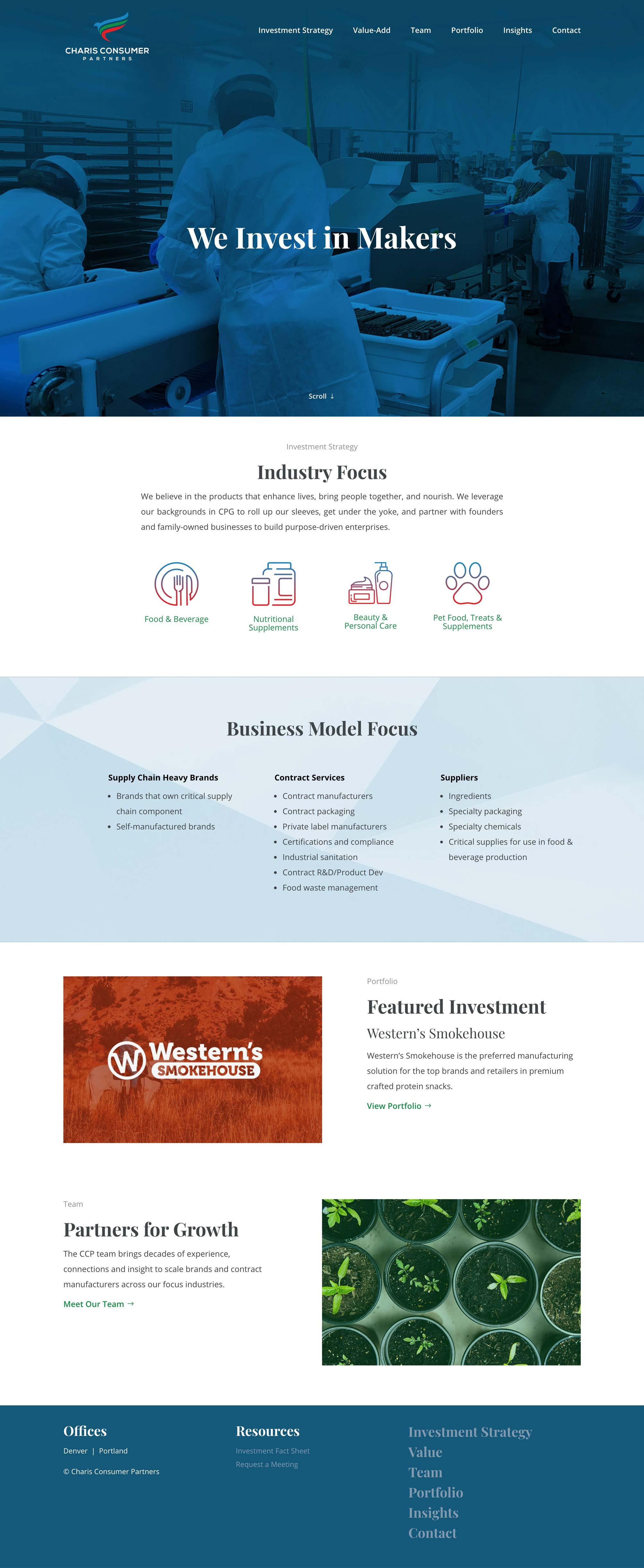 Charis Consumer Partners Homepage Design